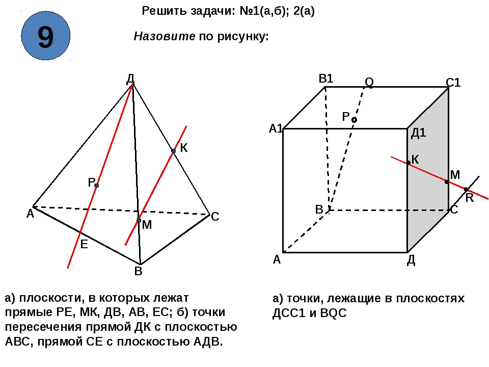 Решить задачи: №1(а,б); 2(а) А В С Д Р Е К М А В С Д А1 В1 С1 Д1 Q P R К М На...