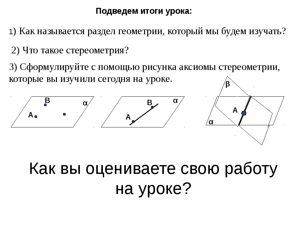 Подведем итоги урока: 1) Как называется раздел геометрии, который мы будем и...