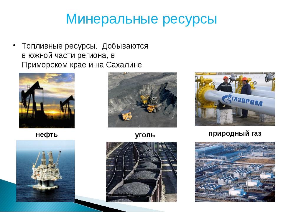Минеральные ресурсы Топливные ресурсы. Добываются в южной части региона, в Пр...