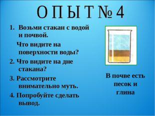 Возьми стакан с водой и почвой. Что видите на поверхности воды? 2. Что видите
