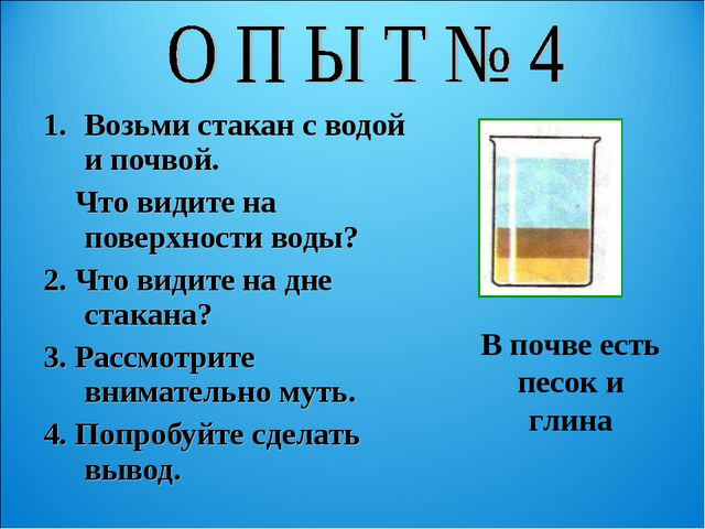 Возьми стакан с водой и почвой. Что видите на поверхности воды? 2. Что видите...