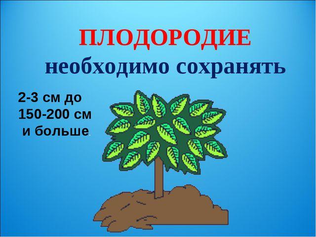 ПЛОДОРОДИЕ необходимо сохранять 2-3 см до 150-200 см и больше.