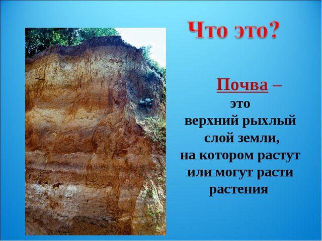 Почва – это верхний рыхлый слой земли, на котором растут или могут расти рас...