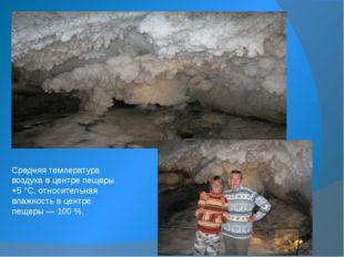 Средняя температура воздуха в центре пещеры +5°C, относительная влажность в