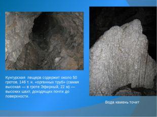 Кунгурская пещера содержит около 50 гротов, 146 т.н. «органных труб» (самая