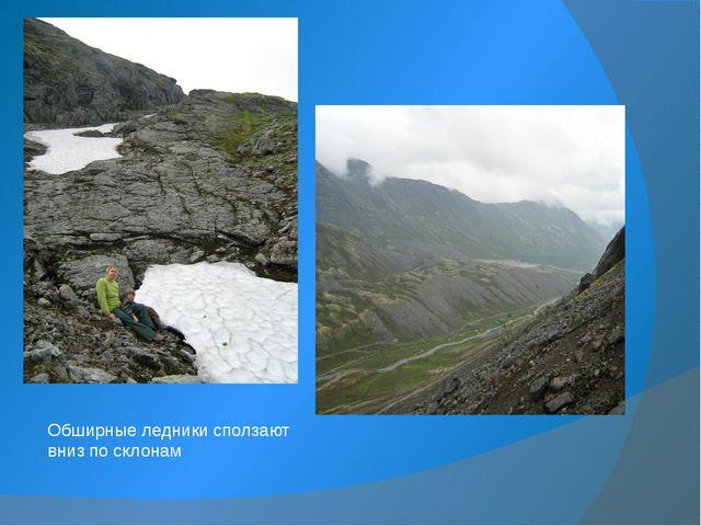 Обширные ледники сползают вниз по склонам