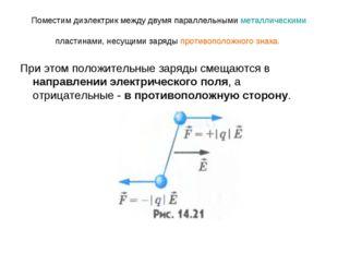 Поместим диэлектрик между двумя параллельнымиметаллическимипластинами, несу