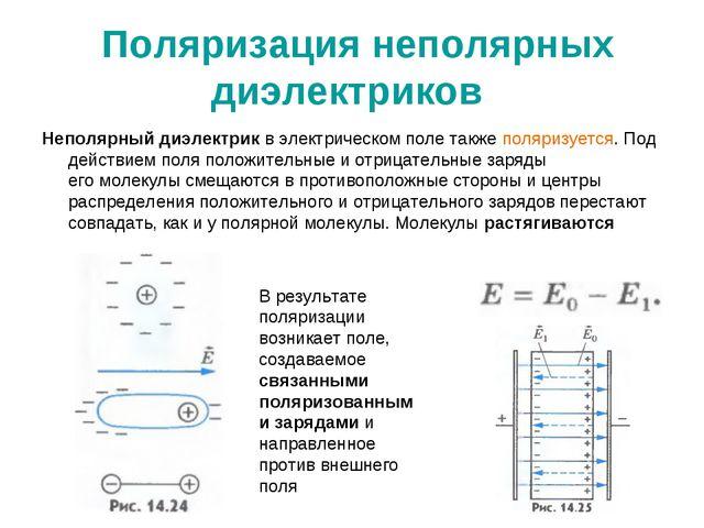 Поляризация неполярных диэлектриков Неполярный диэлектрик в электрическом по...