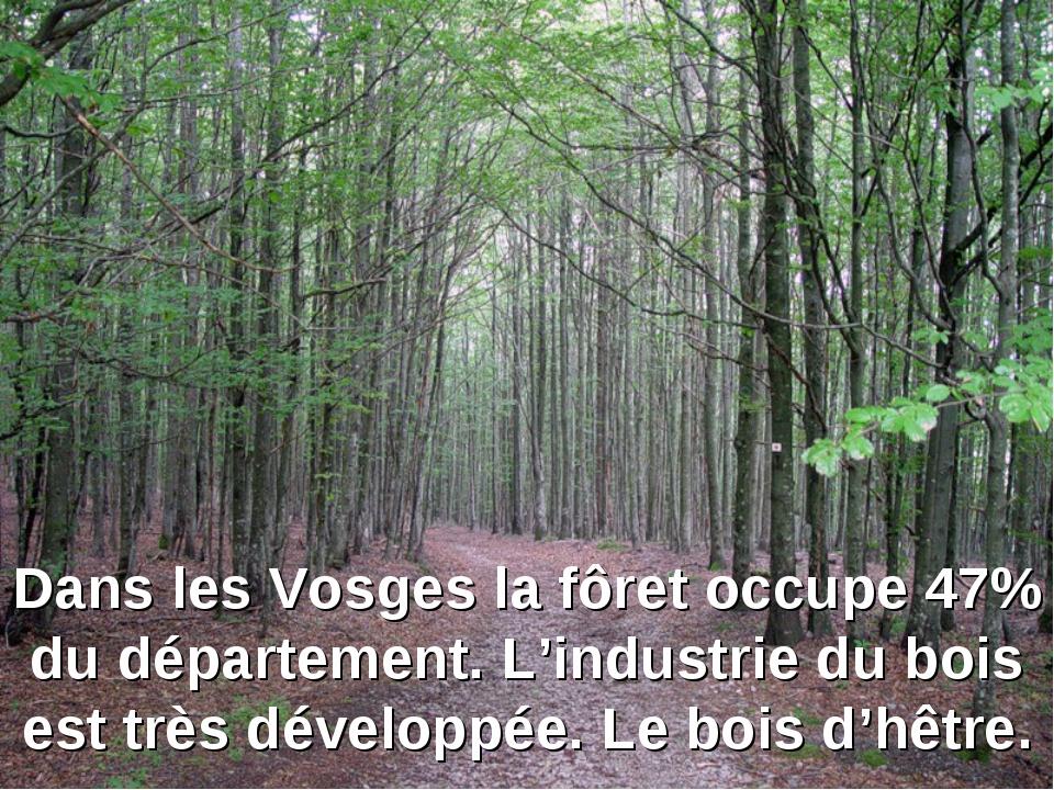 Dans les Vosges la fôret occupe 47% du département. L'industrie du bois est t...