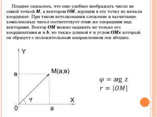 Позднее оказалось, что еще удобнее изображать число не самой точкой M, а вект