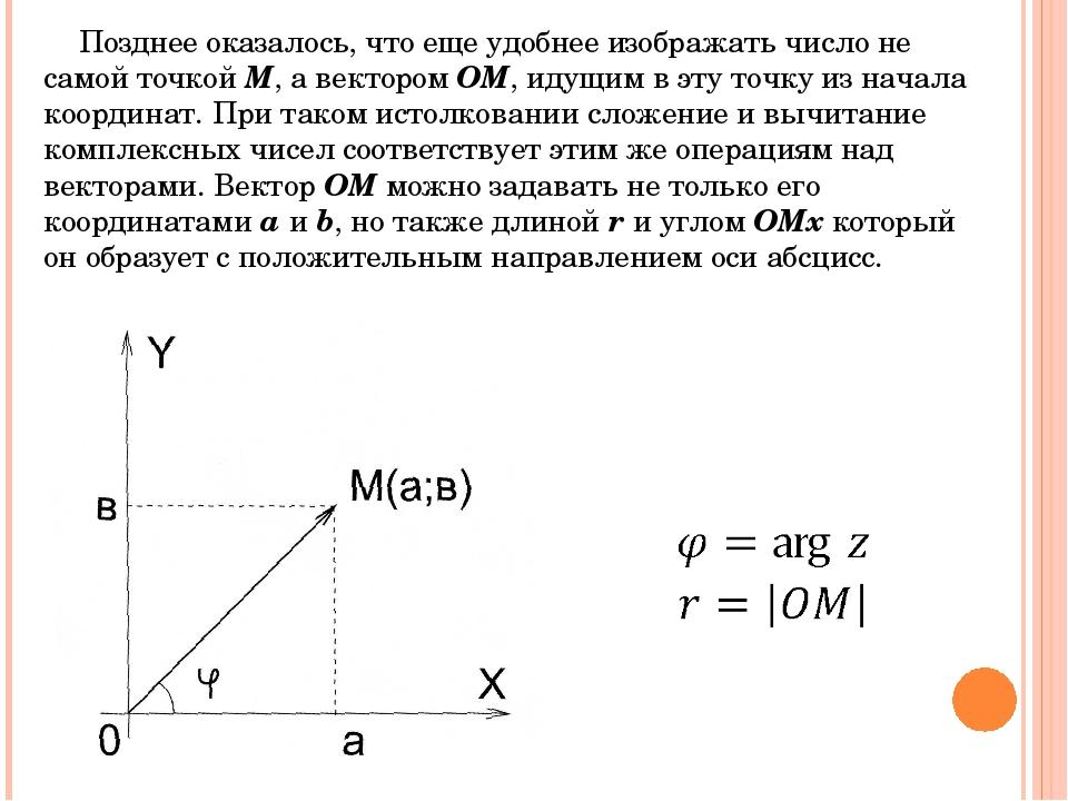 Позднее оказалось, что еще удобнее изображать число не самой точкой M, а вект...