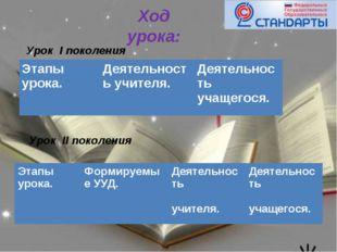 Ход урока: Урок I поколения Урок II поколения Этапы урока.Деятельность учите