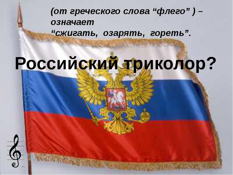 """Российский триколор? (от греческого слова """"флего"""" ) – означает """"сжигать, озар..."""