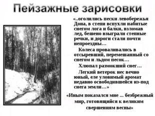 «..оголились пески левобережья Дона, в степи вспухли набитые снегом лога и б