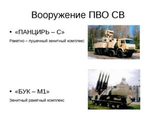 Вооружение ПВО СВ «ПАНЦИРЬ – С» Ракетно – пушечный зенитный комплекс «БУК – М