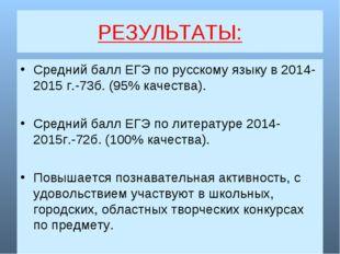 РЕЗУЛЬТАТЫ: Средний балл ЕГЭ по русскому языку в 2014-2015 г.-73б. (95% качес