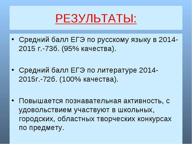 РЕЗУЛЬТАТЫ: Средний балл ЕГЭ по русскому языку в 2014-2015 г.-73б. (95% качес...