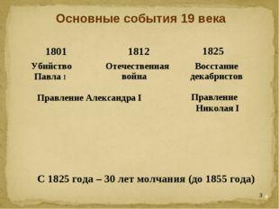 * Основные события 19 века Правление Александра I Правление Николая I С 1825