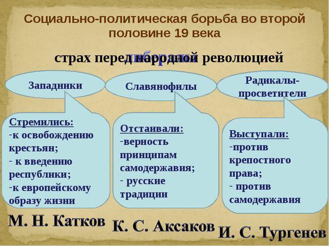 Социально-политическая борьба во второй половине 19 века Западники Стремились...