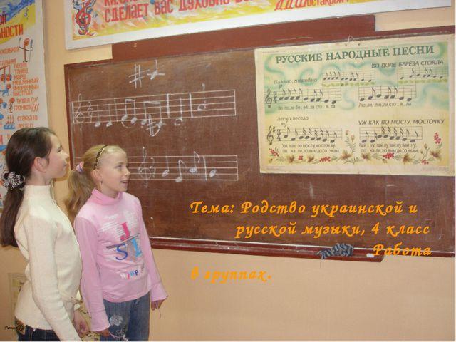 Тема: Родство украинской и русской музыки, 4 класс Работа в группах. Резник...