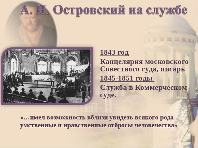 1843 год Канцелярия московского Совестного суда, писарь 1845-1851 годы Служба...