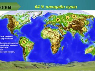 64 % площади суши Центральные равнины Восточно-Европейская равнина Западно-Си
