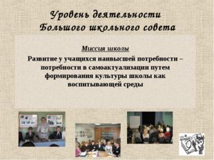 Уровень деятельности Большого школьного совета Миссия школы Развитие у учащих