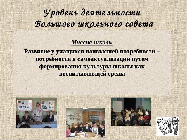 Уровень деятельности Большого школьного совета Миссия школы Развитие у учащих...