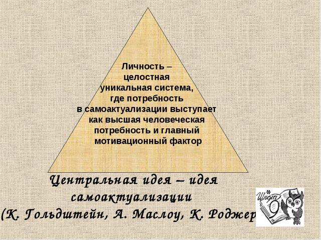 Личность – целостная уникальная система, где потребность в самоактуализации...