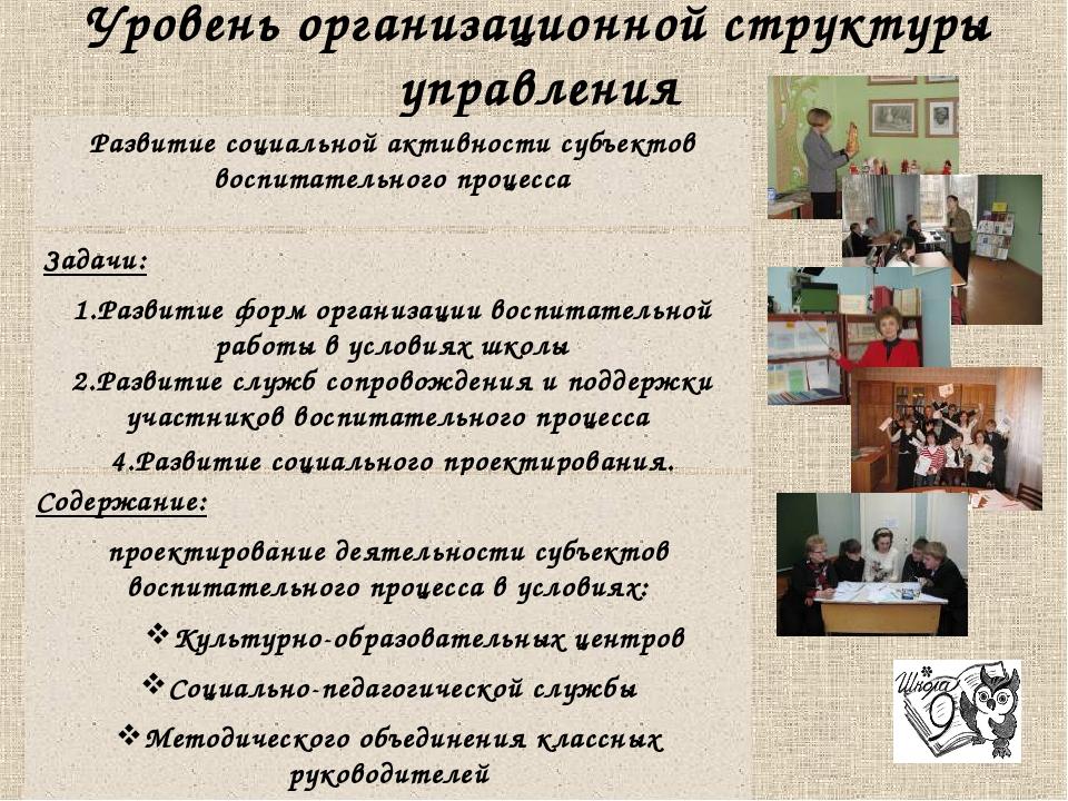 Уровень организационной структуры управления Развитие социальной активности с...