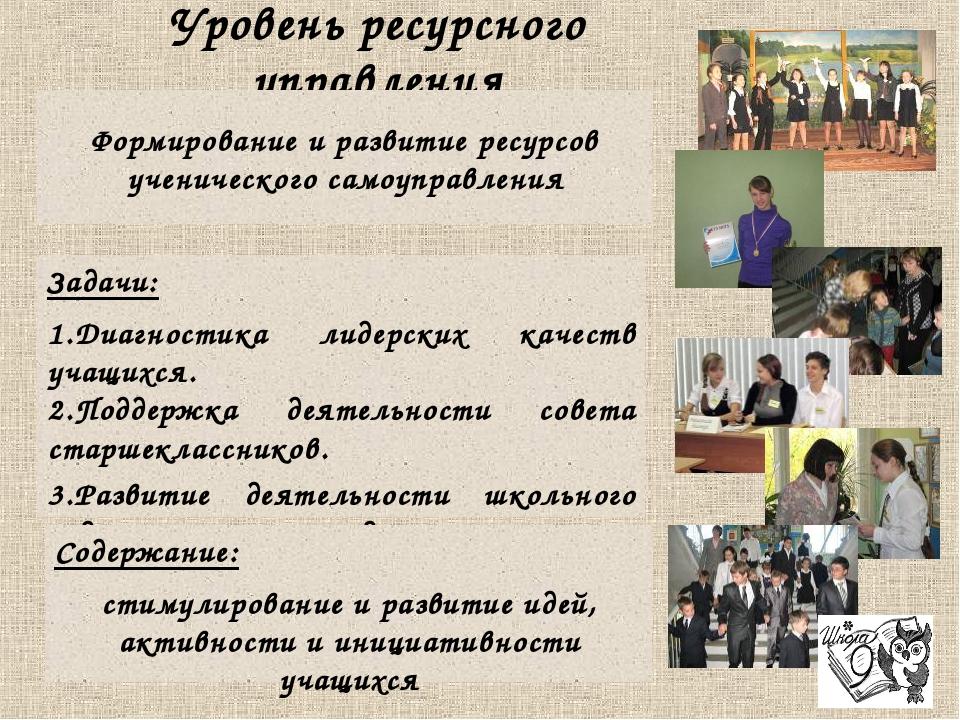 Уровень ресурсного управления Формирование и развитие ресурсов ученического с...