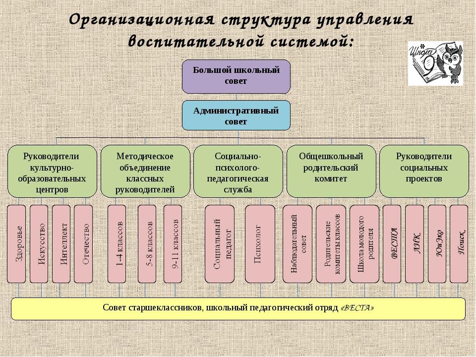 Организационная структура управления воспитательной системой: Большой школьны...