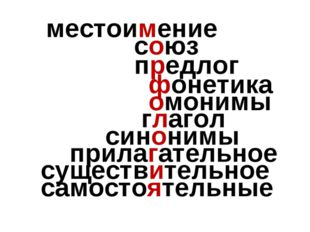местоимение союз предлог фонетика омонимы глагол синонимы прилагательное сущ
