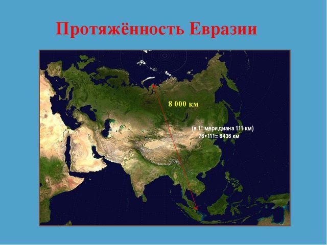 Протяжённость Евразии 8 000 км (в 1° меридиана 111 км) 76111= 8436 км