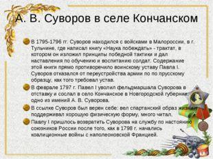 А. В. Суворов в селе Кончанском В 1795-1796 гг. Суворов находился с войсками