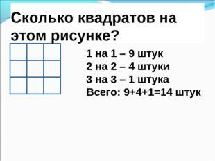 Сколько квадратов на этом рисунке? 1 на 1 – 9 штук 2 на 2 – 4 штуки 3 на 3 –