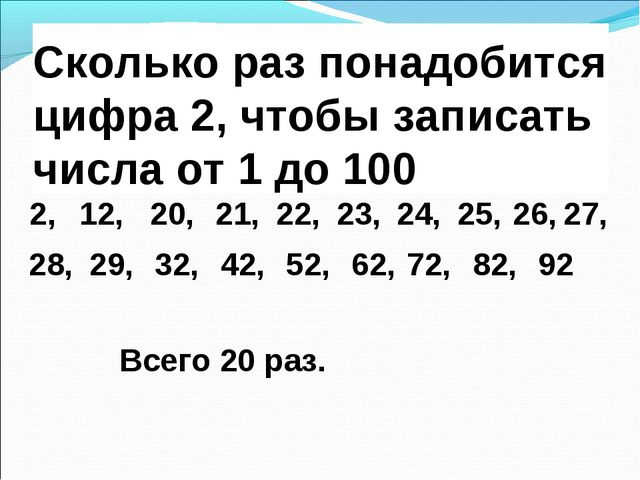 Сколько раз понадобится цифра 2, чтобы записать числа от 1 до 100 2, 92 20, 2...