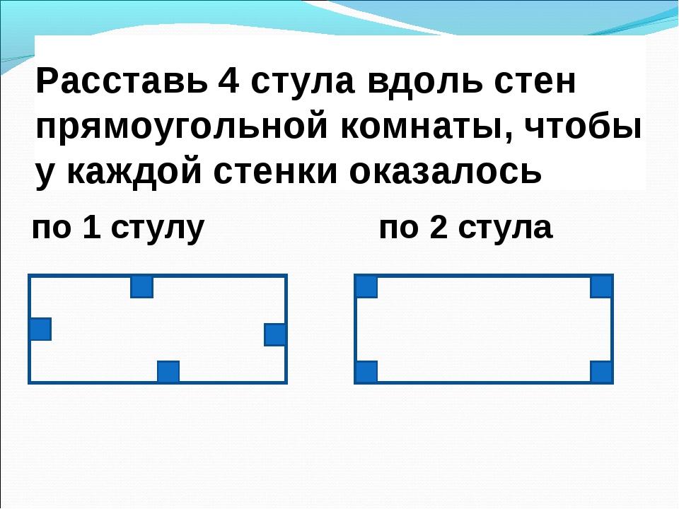 Расставь 4 стула вдоль стен прямоугольной комнаты, чтобы у каждой стенки оказ...