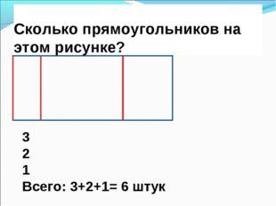 Сколько прямоугольников на этом рисунке? 3 2 1 Всего: 3+2+1= 6 штук