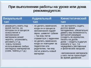При выполнении работы на уроке или дома рекомендуется: Визуальный тип Аудиаль