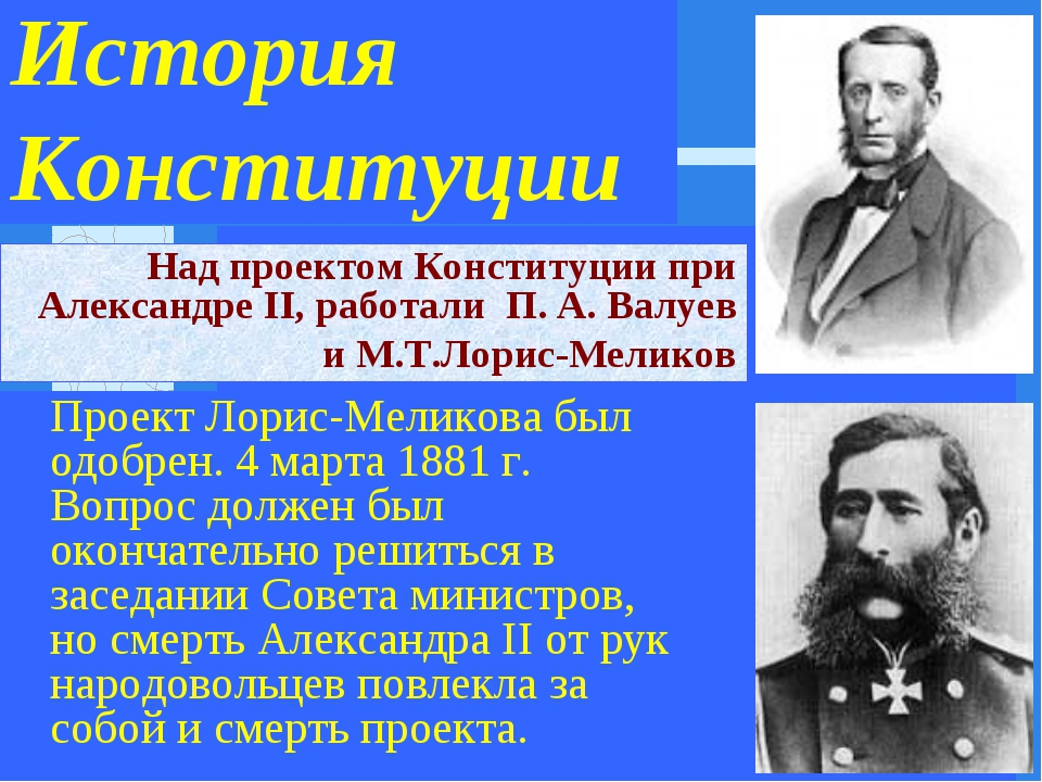 История Конституции Проект Лорис-Меликова был одобрен. 4 марта 1881 г. Вопро...