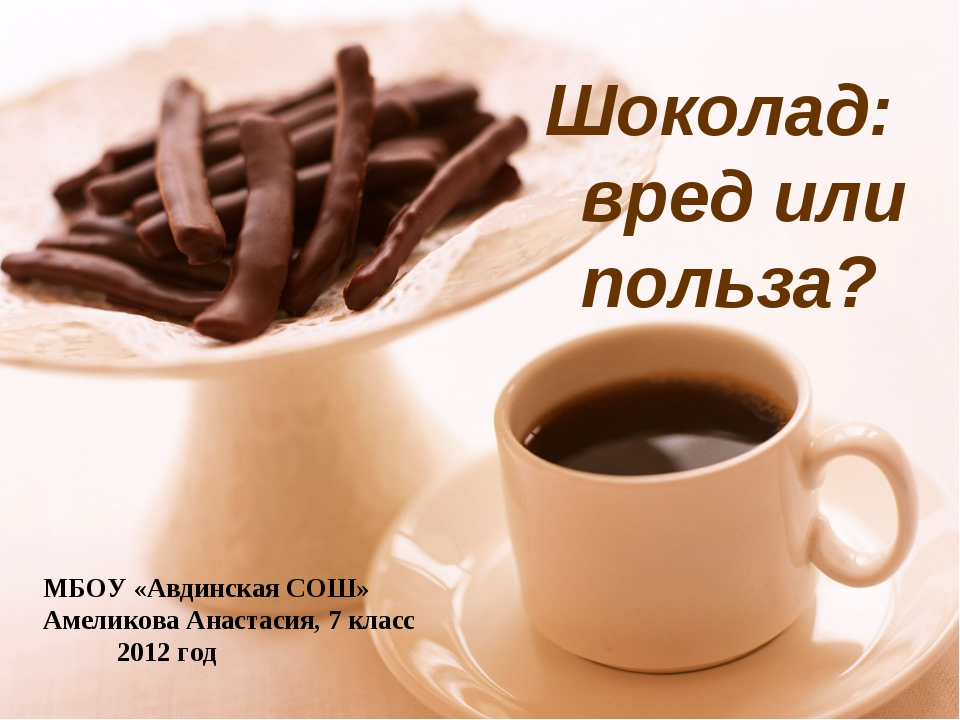 МБОУ «Авдинская СОШ» Амеликова Анастасия, 7 класс 2012 год Шоколад: вред или...