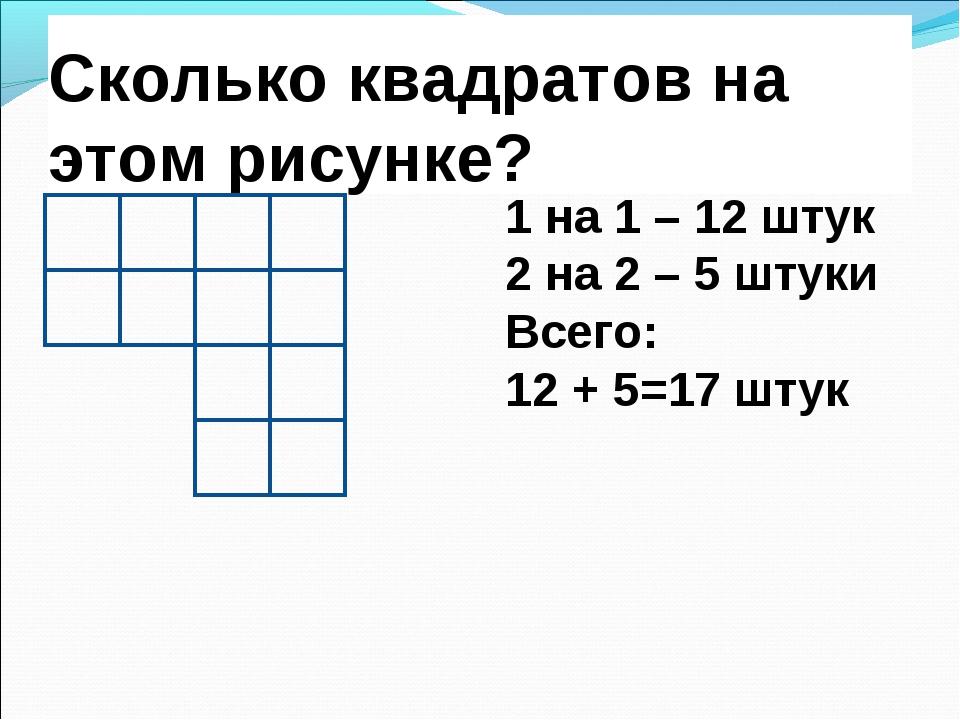 Сколько квадратов на этом рисунке? 1 на 1 – 12 штук 2 на 2 – 5 штуки Всего: 1...