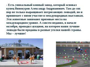 - Есть уникальный конный завод, который основал купец Винокуров Александр Анд