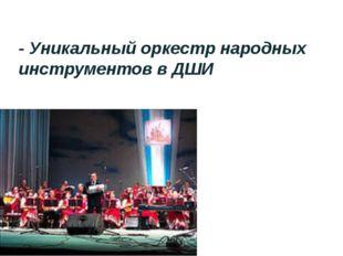 - Уникальный оркестр народных инструментов в ДШИ