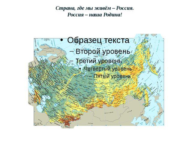 Страна, где мы живём – Россия. Россия – наша Родина!