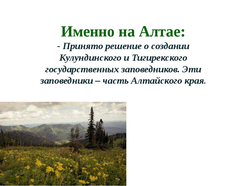 Именно на Алтае: - Принято решение о создании Кулундинского и Тигирекского го...