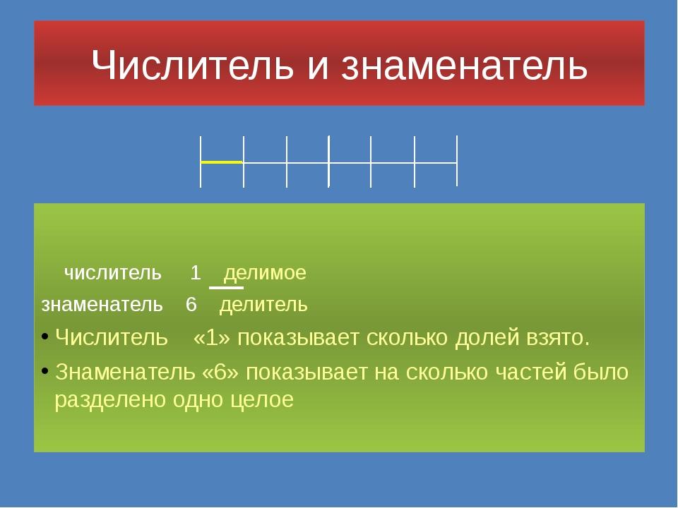 Числитель и знаменатель числитель 1 делимое знаменатель 6 делитель Числитель...