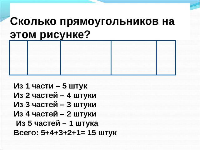 Сколько прямоугольников на этом рисунке? Из 1 части – 5 штук Из 2 частей – 4...