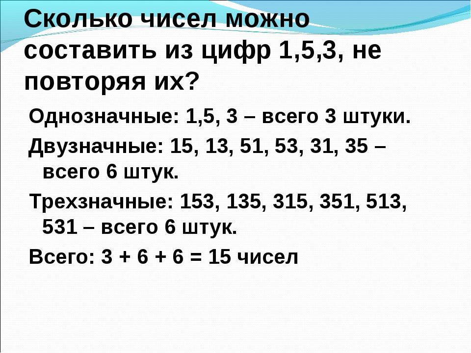 Сколько чисел можно составить из цифр 1,5,3, не повторяя их? Однозначные: 1,5...